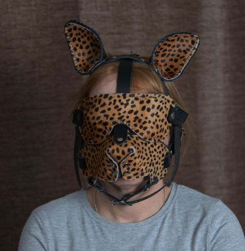 Luxury Jaguar Kitty Pet-Play Head Harness Set